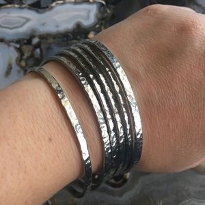 🍀4for$20🍀6 hammered silver tone bangle bracelets
